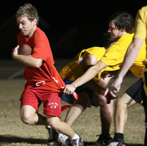 Bad Karma (yellow) took Old School (red) 28-6 in a game of intramural flag football Thursday night.