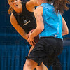 Tribune-Star/Joseph C. Garza<br /> Quick paced practice: Indiana State sophomore Amanda Pedro guards freshman Krista Smith during the team's open practice Friday at Hulman Center.