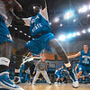 Tribune-Star/Joseph C. Garza<br /> Tall tree defense: Indiana State freshman guard Koang Doluony tightly guards a teammate during a defensive drill Friday during the team's open practice at Hulman Center.