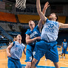 Tribune-Star/Joseph C. Garza<br /> Inside job: Indiana State's Aaron Carter gets a shot off past defending teammate Lucas Eitel during the team's open practice Friday at Hulman Center.