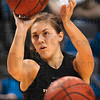 Tribune-Star/Joseph C. Garza<br /> Three-point champ: Indiana State senior Kelsey Luna shoots one of her three-point baskets to win a three-point shooting contest Friday during the team's open practice at Hulman Center.
