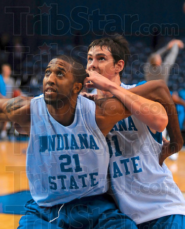 Tribune-Star/Joseph C. Garza<br /> Tangle in the paint: Indiana State centers Isiah Martin and RJ Mahurin tangle for a rebound during a rebound drill Friday during the team's open practice at Hulman Center.
