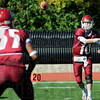Reception: Rose-Hulman quarterback, 310, Derek Eitel fires a completion to #35, Reed Eason during first half action against Hanover Saturday afternoon at Cook Stadium.