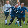 Tribune-Star/Joseph C. Garza<br /> 2-1, Sullivan: Sullivan's Kelsey Burr (13) and Shelbi Ellenberger (7) celebrate a goal by teammate Bridget Beard off of a free kick to give the Golden Arrows a 2-1 lead over Terre Haute North during the sectional championship match at Terre Haute South Saturday.