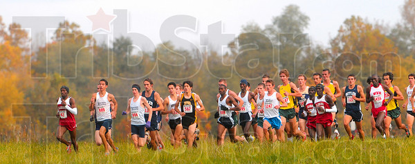 Tribune-Star/Joseph C. Garza<br /> Fall colors: Alabama's Julius Bor leads his competitors early in the Blue Race during the 2009 ISU Pre-National Invitational Saturday at the Lavern Gibson Championship Cross Country Course.