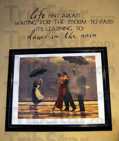 Dancing in the rain: Detail photo of artwork on the wall of the home of Christian and Danette Monson. Their son Garin was treated for lead poisoning.