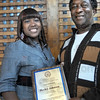 NAACP award: Terre Haute resident Herley Johnson was presented the President's Labor and Industry Award.  Presenting the award is his daughter Whitney Stewart.