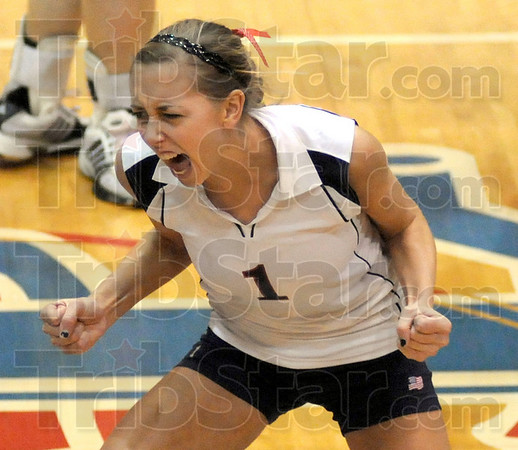 Yes!: North's #1, Laura Mauer reacts to a play during sectional play agasinst Northview Saturday evening.