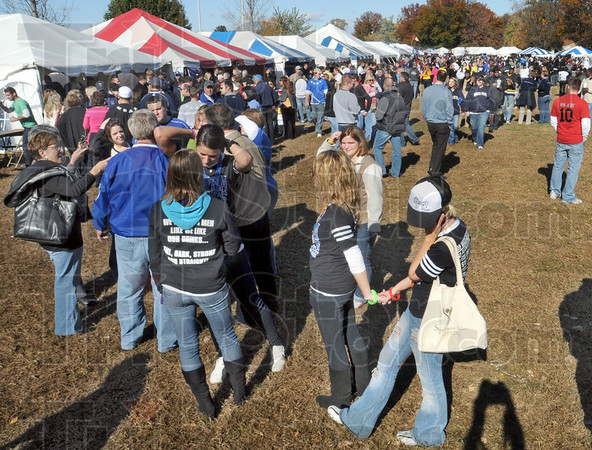"""Tent city: Thousands of Indiana State University students and alumni gather in the """"tent city"""" at the east end of Memorial Stadium Saturday afternoon."""