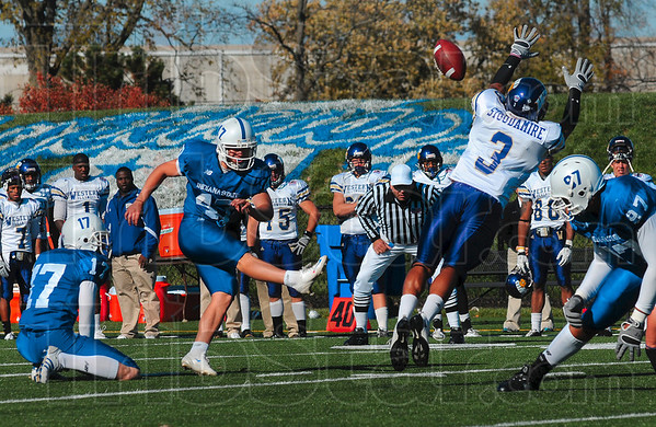 Tribune-Star/Joseph C. Garza<br /> On the board: Indiana State kicker Braulio Martinez kicks a three-point field goal to put the Sycamores on the scoreboard during the team's win over Western Illinois Saturday at Memorial Stadium.