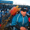 Tribune-Star/Joseph C. Garza<br /> Victoriously soaked: Indiana State head football coach Trent Miles is drenched with the contents of a drink cooler as the final seconds tick off the clock of the Sycamores' 17-14 win Saturday at Memorial Stadium.