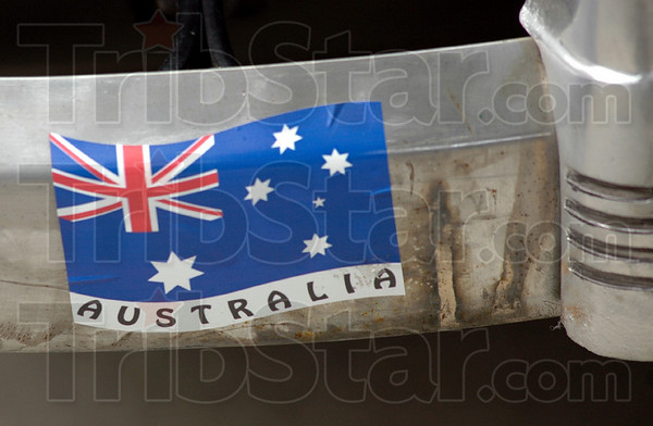 Aussies: Stick applied to the 1940 Pontiac driven by Australians John Felder and John Shorland.