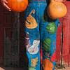 Tribune-Star/Joseph C. Garza<br /> Gourd fashion: Helen Thomas's love for gourds doesn't stop with her fanciful designs and carvings as can be seen with a pair of hand-decorated overalls.