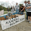Escapees?: Members of the Alcatraz Rowing Team can't believe their boat made it all the way across the pond at the Maryland Community Church Saturday afternoon. The are from left to right, Zac Divine and his wife Shauna, Adam Bennett and Mike Fry.