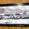 Panorama: A photograph from the first Newport Hill Climb hangs on the square in Newport.