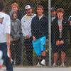 Tribune-Star/Joseph C. Garza<br /> North side!: Terre Haute North fans celebrate after the No. 1 doubles team of Parker Fulkerson and Chris Holcomb won a point during their sectional championship No. 1 doubles match Saturday at North.