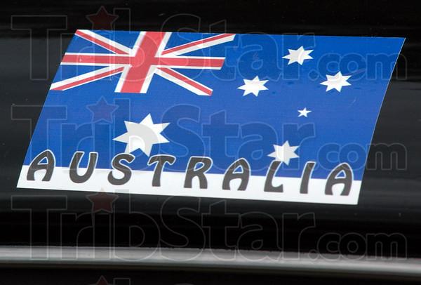 Detail: Australia decal on 1940 Pontiac driven by two Australians at the Newport Hillclimb.