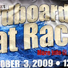 Race: Detail of sign for Cardboard Boat Race.