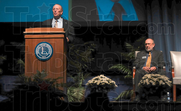 Tribune-Star/Joseph C. Garza<br /> A word from the faculty senate: Indiana State University Faculty Senate Chairperson Dr. Steven Lamb addresses the members of the audience in Tilson Music Hall before President Dan Bradley's presentation Wednesday.