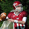 Tribune-Star file photo/Bob Poynter<br /> Lookin' long: Rose-Hulman quarterback Derek Eitel looks downfield during game action against Hanover Saturday, Oct. 10 at Cook Stadium.