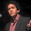 Tribune-Star/Joseph C. Garza<br /> He didn't forget: After receiving a round of applause from the audience upon his introduction, author Mitch Albom jokingly asks if the Michigan State-Indiana State rivalry is a thing of the past Monday in Tilson Music Hall on the Indiana State campus.