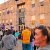 Tribune-Star/Joseph C. Garza<br /> In memory of Michael: Rosie Myers holds a purple balloon and a photo of her late grandson, Michael Nichols, who was 11 months old, during the CODA 2009 Candlelight Vigil Monday in front of City Hall.