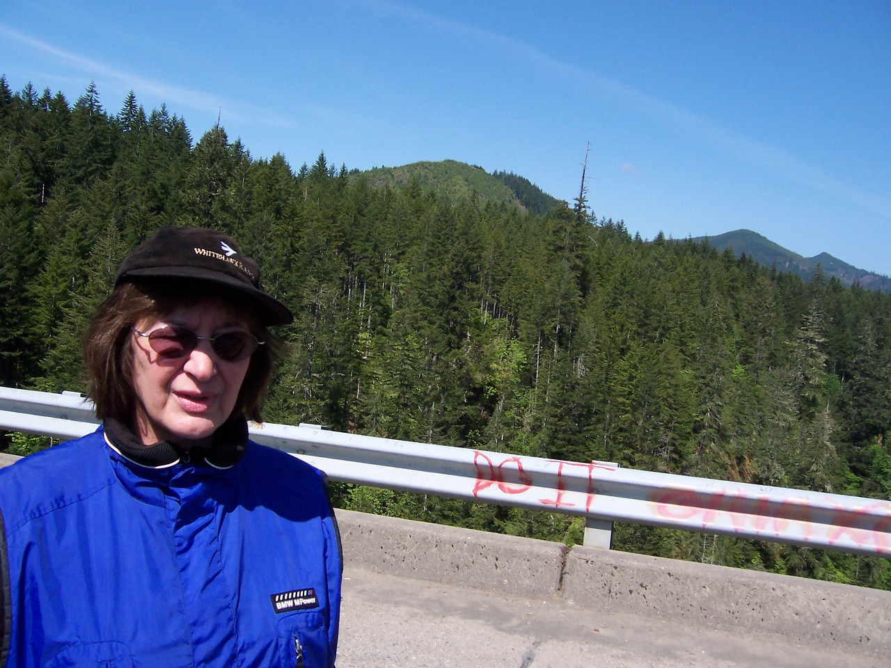 We shot from the top of the hill off Sylvia's left shoulder to the bridge, a distance of over 6000'.