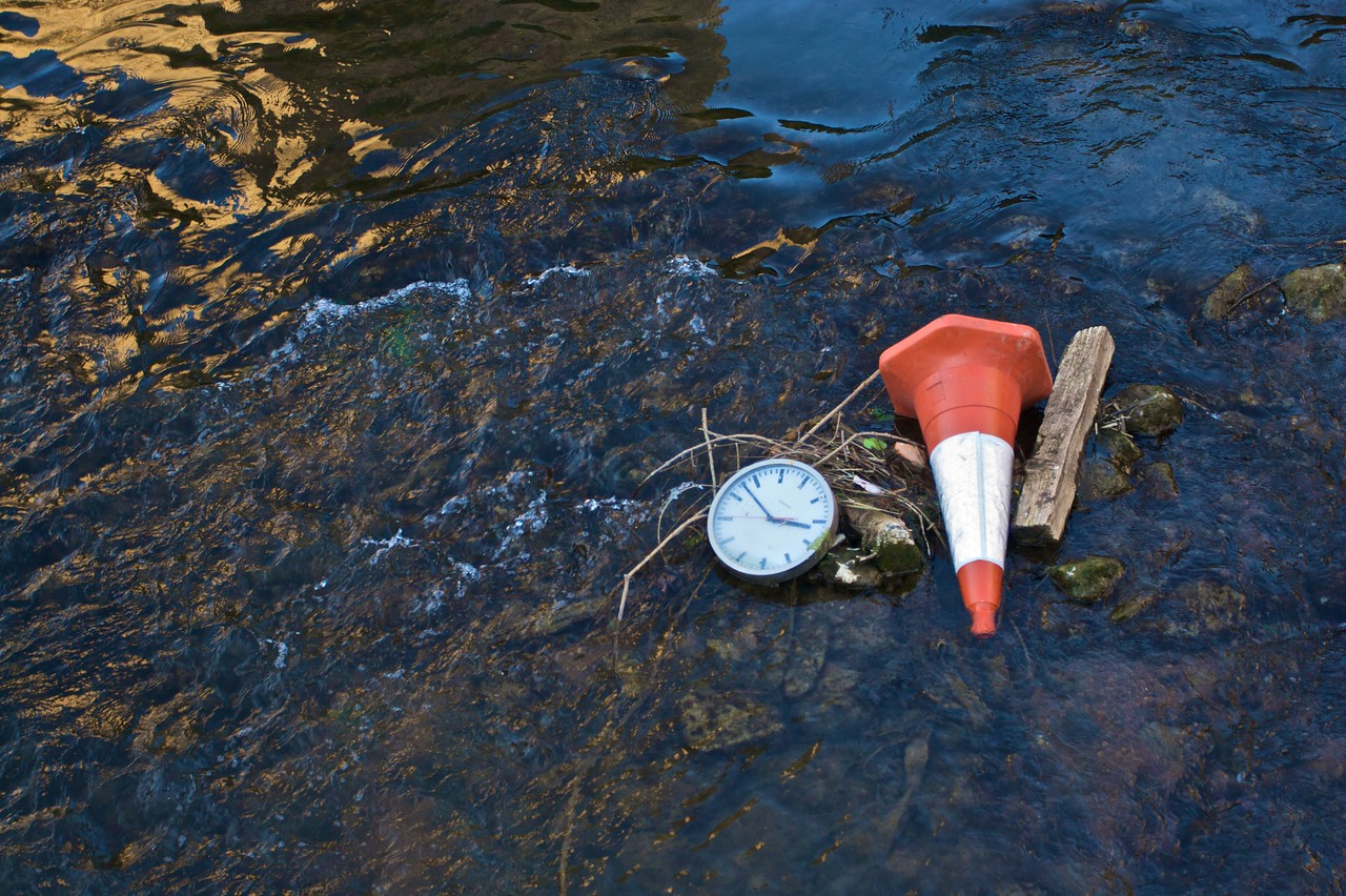 Debris washed up in the stream running past Paradise Street (near my flat).