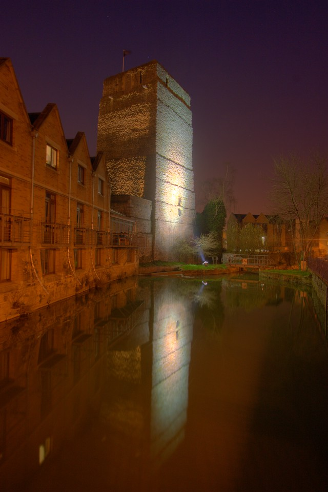 The tower of Oxford Castle, as seen from Quaking Bridge/Paradise Street (near my flat).