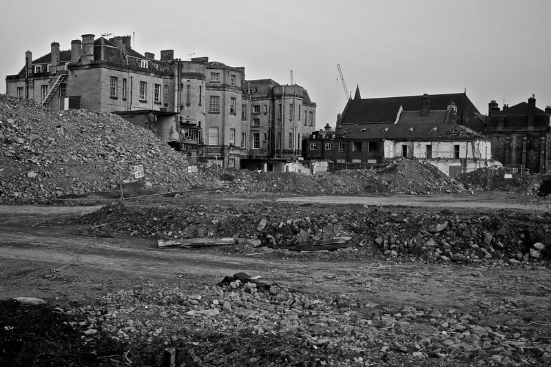 Rubble behind the old Radcliffe Infirmary building, currently undergoing renovation as it is repurposed by the University to house various Humanities facilities.