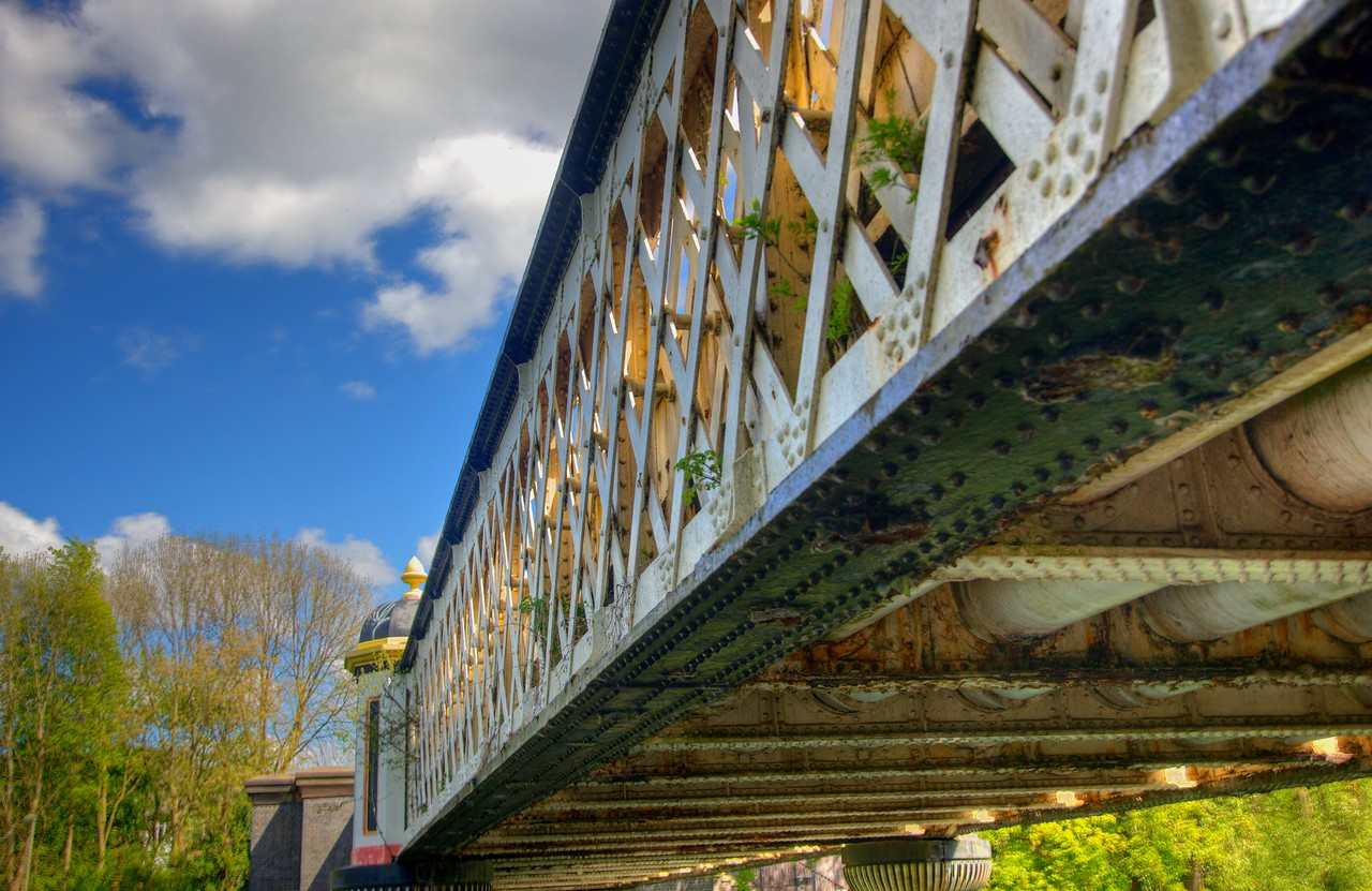 A bridge across the river.