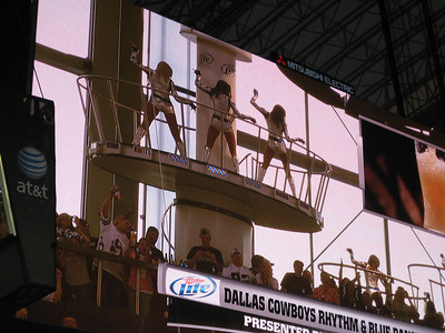 Yes, not only do they have the Cowboys cheerleaders but now they have the Dallas Dancers.. reminds me of a strip club