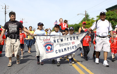 Members of the City of Newburgh Little League march down Broadway in the City of Newburgh Memorial Day Parade held on Monday, May 25, 2009.