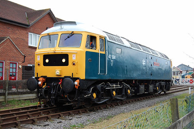 The event was sub-titled 'Two Counties in Norfolk', and one one side only 47596 masqueraded as former sister loco 47584 'County of Suffolk'. The loco is pictured running round at Dereham before working the 1500 to Wymondham Abbey (28/02/2009)