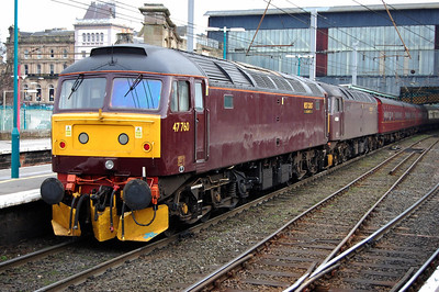 47760 on arrival at Carlisle with 1Z23 0650 charter from Huntingdon. Inside is 47854 which had worked the train as far as Grantham, but was shut down due to an oil leak (14/02/2009)