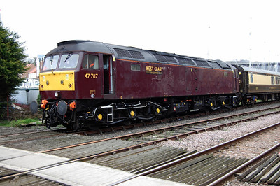 47787 in the sidings at Whitby with the stock for WCRC's 1Z48 1625 return charter to Preston, which it would work forward from Battersby. This shot is already historic, in that the loco has since regained its 'Windsor Castle' nameplates (07/03/2009)