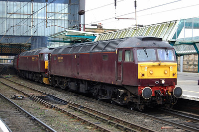 47804 (with 47760 still d.i.t.) is pictured on arrival at Carlisle with 1Z30 from Bedford, which had been routed over the curve between Lenton South-North Junctions due to an engineering possession at Toton (21/02/2009)