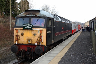 47703 at Leyburn on the rear of the 1358 to Leeming Bar, hauled by 47715 (04/01/2009)
