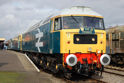 Complete with 'The Fenman' headboard, 47580+47596 double head the 1300 to Wymondham Abbey at Dereham (28/02/2009)