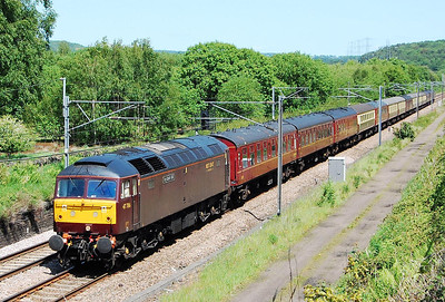 After a reversal at Leeds, 47786 'Roy Castle OBE' approaches Dockfield Junction, Shipley, with 5Z48 1248 Doncaster West Yard-Carnforth ecs off the return charter from Canterbury (24/05/2009)