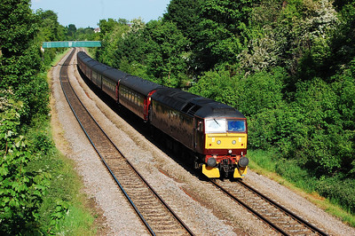 47760 descends the gradient from Cross Gates into Leeds at Killingbeck with 5Z47 1455 Norwich-Carnforth. The loco had worked the return leg of a steam-hauled tour to Poole the previous day (24/05/2009)