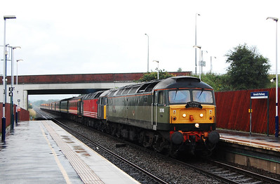 47815 'Great Western' + 47769 'Resolve' arrive at Horwich Parkway with Compass Tours' 1Z28 0450 Crewe-Inverness charter. The appalling weather was perhaps an omen of what lay ahead as the day's events unfolded... (17/07/2009)