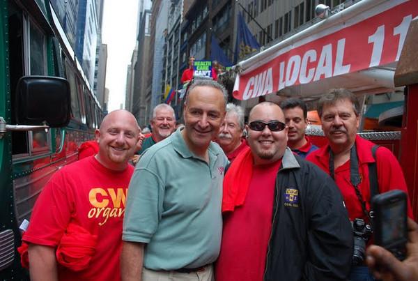 New York Sr. Senator Charles Schumer (center) at the Labor Day parade.