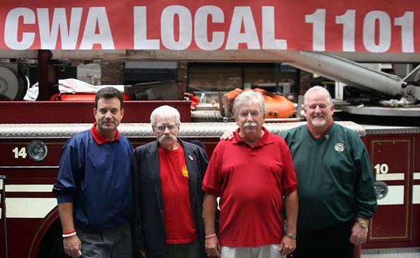 Chief Steward Harry DeLaBastide, Ed Baxter, District 1 V.P. Chris Shelton, Business Agent Marty Shannon (starting left)