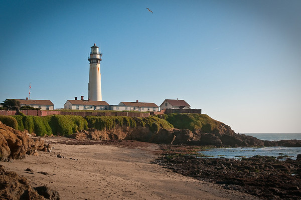 The Pigeon Point lighthouse, seen from the beach and Pacific Ocean behind it.