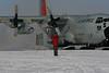 Getting the plane parked. <br /> <br /> Flyet parkeres .<br /> Photo: Sebastian B. Simonsen