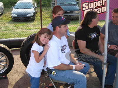 Ray Cook with his daughters at the drivers autograph session - Portsmouth Raceway Park