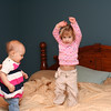 Addison & Lilly, bouncing on the bed