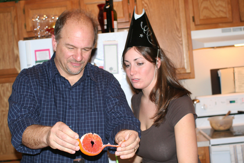 Don & Lindsay getting ready to eat fruit leftover from Sangria