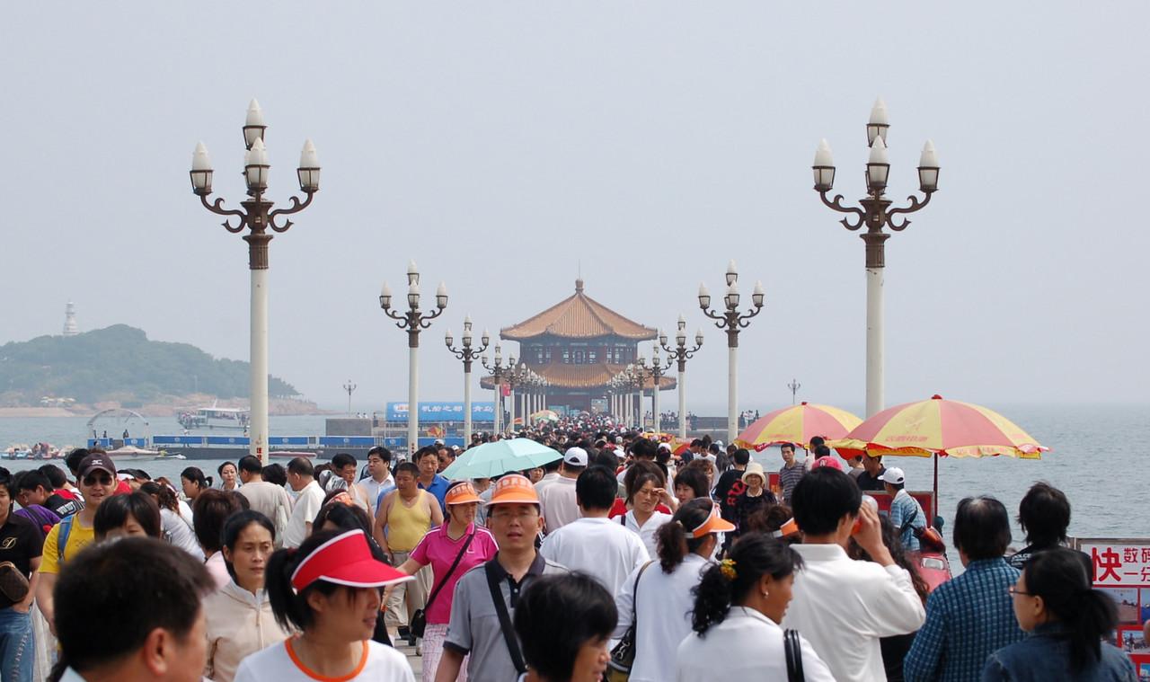 Zhan Qiao pier, appears on all bottles of qingdao.  ren shan ren hai!